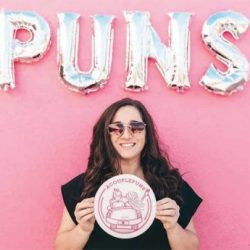 military spouse dubbed punniest on Instagram is pictured with the Puns in the background