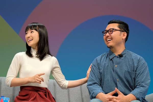 Marie Kondo and Co-founder and CEO of KonMari Media, Inc Takumi Kawahara speak on stage at Cannes
