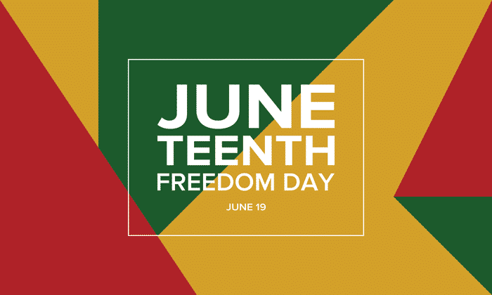 June teenth freedom day text on a multi-colored background with different sized shapes