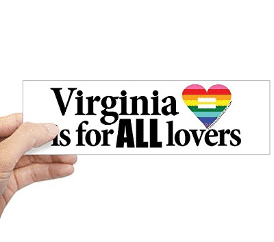 Virginia slogan being held by a hand on the side