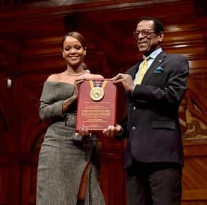 Rihanna receives he Harvard University Humanitarian of the Year Award on stage