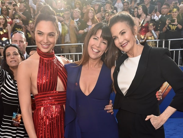Gal Gadot, Patty Jenkins, and Lynda Carter on the red carpet.