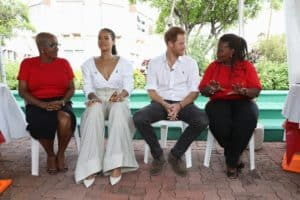 Rihanna on stage in Barbados at an HIV event with Prince Harry