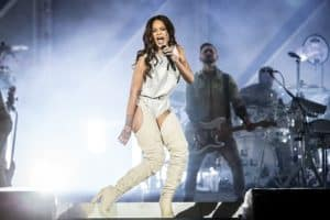 Rihanna on stage singing