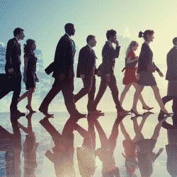 group of professionals in a silhouette background walking