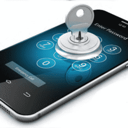 smartphone shown with key inserted as if unlocking it