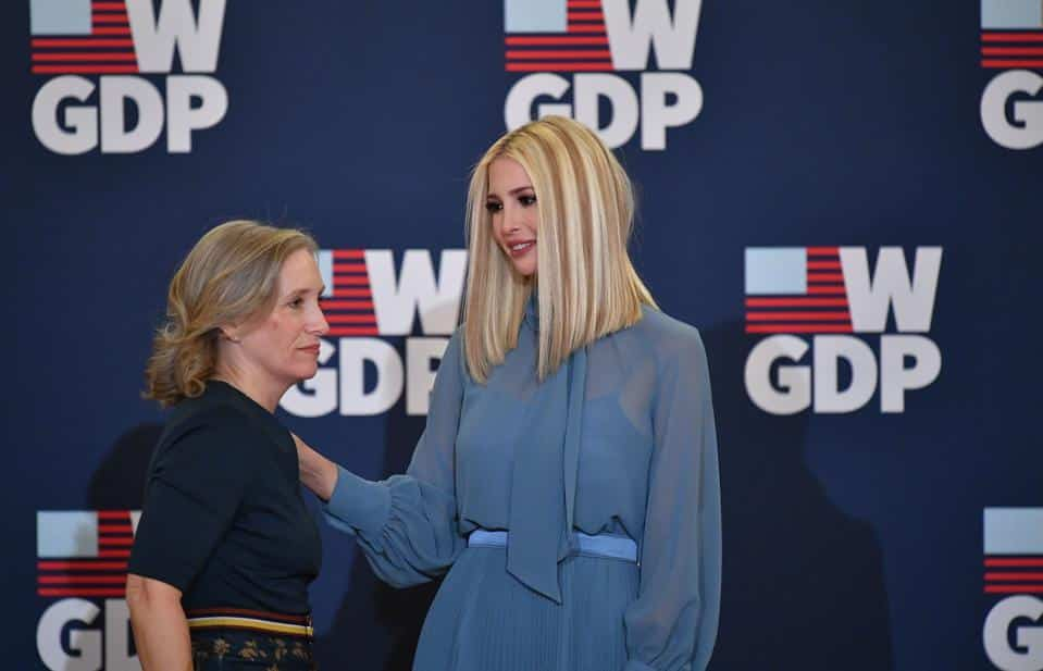 Kelley Currie and Ivanka Trump Speaking at the event wearing blue