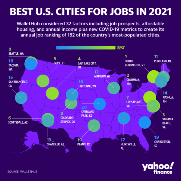 US map in purple for the best cities for jobs