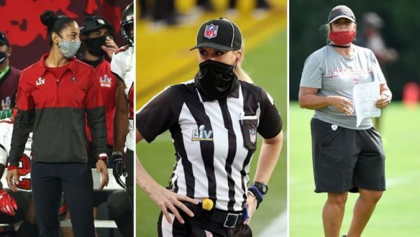 collage of two female nfl coaches and a referee