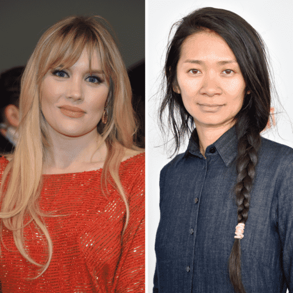 Two photos next to each other. Photo on the left pictures director Emerald Fennell in an orange long sleeve shirt, and the photo on the right pictures director Chloe Zhao wearing a dark blue denim button up.