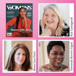 PWM cover Tracee Ellis Ross, Editors Kat C. and Tawanah R. with Mona Lisa Faris-publisher