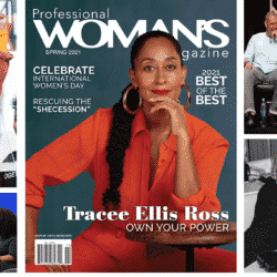 a collage of Tracee Ellis Ross images with the cover of the magazine in the middle