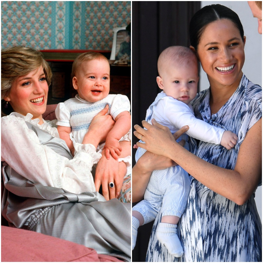 A photo of Princess Diana holding her infant son side by side to a photo of Meghan Markle holding her infant son.