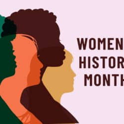 Poster with different women and the words Women's History Month