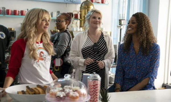 Oscar nominee Emerald Fennell (centre) with Carey Mulligan, left, and Laverne Cox, right, on the set of Promising Young Woman.
