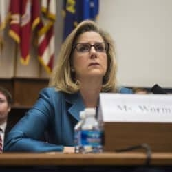 Christine Wormuth attending a hearing