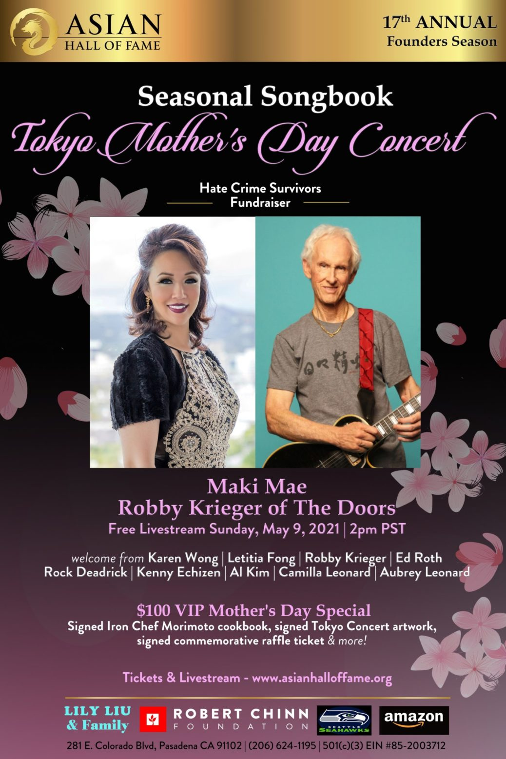 Maki Mae and Robby Krieger in promo poster smiling and all the information is listed for the concerts