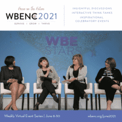 four women sitting on stage with microphones at a WBENC event