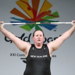 Laurel Hubbard lifting weights in a competition