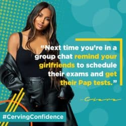 Social media ads in Hologic's new campaign star singer and entrepreneur Ciara reminding women to get screened for cervical cancer. (Hologic and Black Women's Health Imperative)