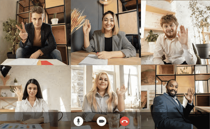 six diverse team members on a zoom call
