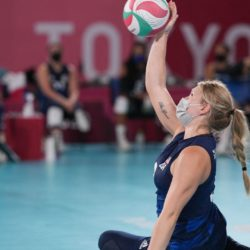 Paralympics Team USA's Alexis Shifflett serves the ball during the Tokyo Paralympic Games women's sitting volleyball pool match against Rwanda in Chiba, Japan, on Aug. 28. Photo: Yasuyoshi Chiba/AFP via Getty Images